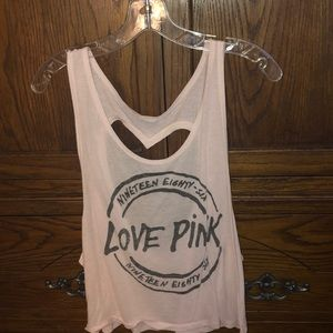PINK Tank Top With Heart Cutout
